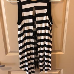 Striped Open Back Tank with Ties